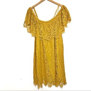 2/$20 Mustard yellow lace off the shoulder ruffle